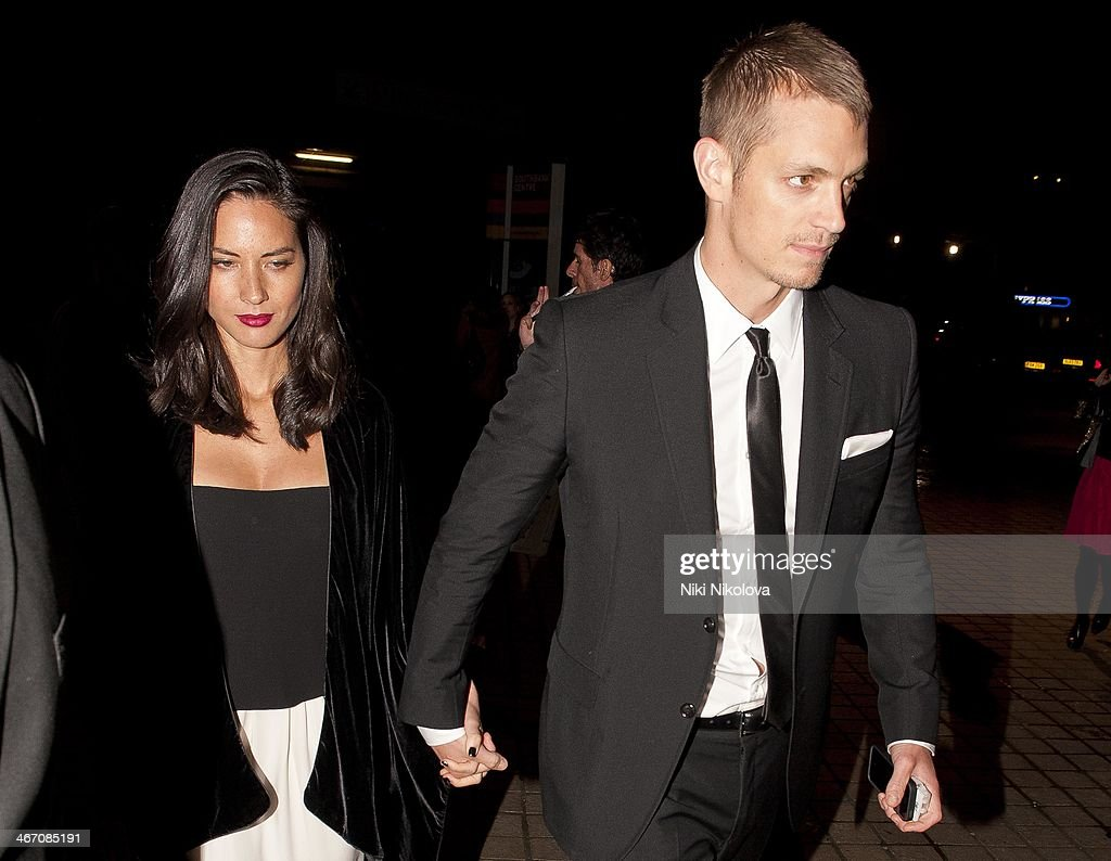 Olivia Munn and Joel Kinnaman are seen leaving the Royal Festival Hall, South Bank on February 5, 2014 in London, England.