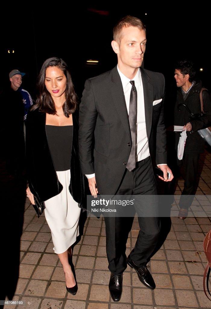 Olivia Munn and Joel Kinnaman are seen leaving the Royal Festival Hall, South Bank on February 5, 2014 in London, England.