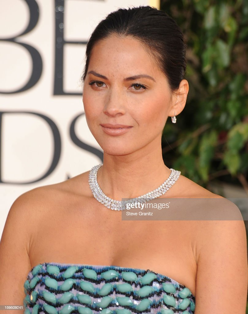 Olivia Munn arrives at the 70th Annual Golden Globe Awards at The Beverly Hilton Hotel on January 13, 2013 in Beverly Hills, California.