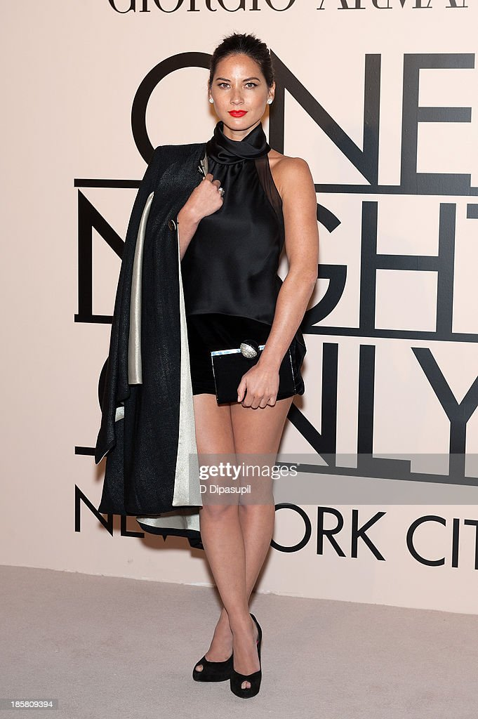 <a gi-track='captionPersonalityLinkClicked' href=/galleries/search?phrase=Olivia+Munn&family=editorial&specificpeople=598969 ng-click='$event.stopPropagation()'>Olivia Munn</a> attends Armani - One Night Only New York at SuperPier on October 24, 2013 in New York City.