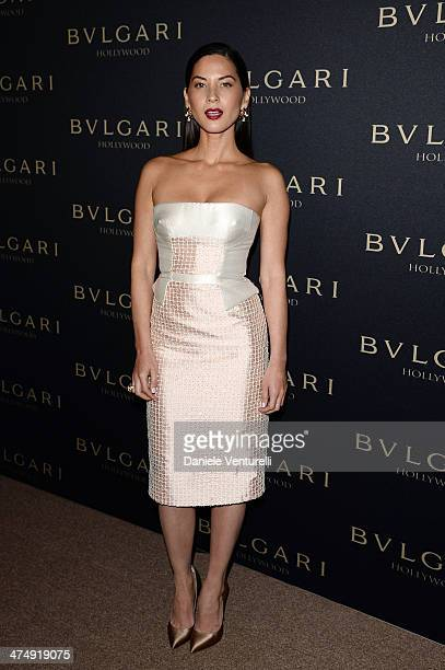 Olivia Munn attends BVLGARI 'Decades Of Glamour' Oscar Party Hosted By Naomi Watts on February 25 2014 in West Hollywood California