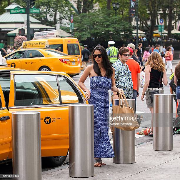 Olivia Munn is seen filming HBO's 'The Newsroom' at Bryant Park on July 19 2014 in New York City