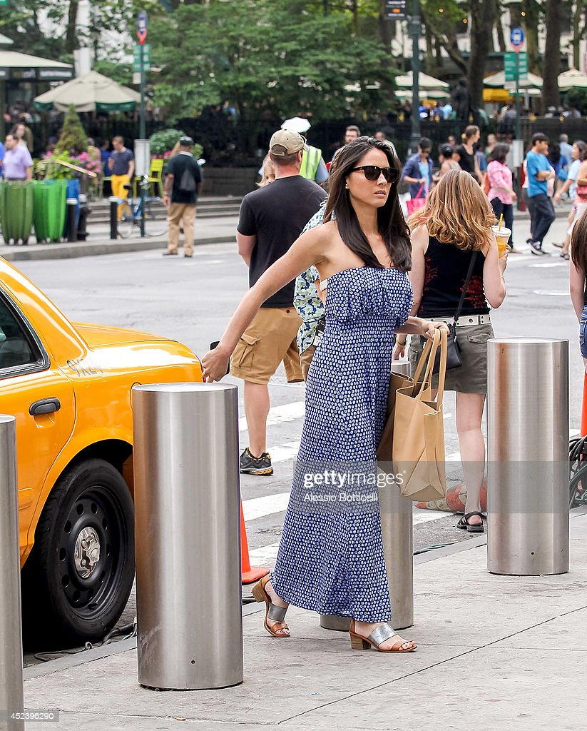 Olivia Munn is seen filming HBO's 'The Newsroom' at Bryant Park on July 19, 2014 in New York City.