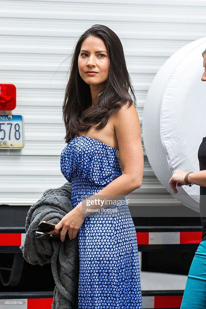Olivia Munn is seen on location in Times Square for 'The Newsroom' on July 19, 2014 in New York City.