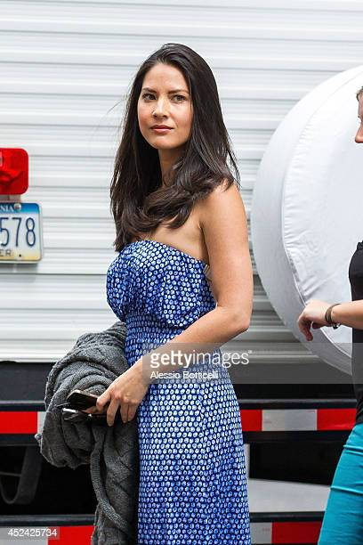 Olivia Munn is seen on location in Times Square for 'The Newsroom' on July 19 2014 in New York City
