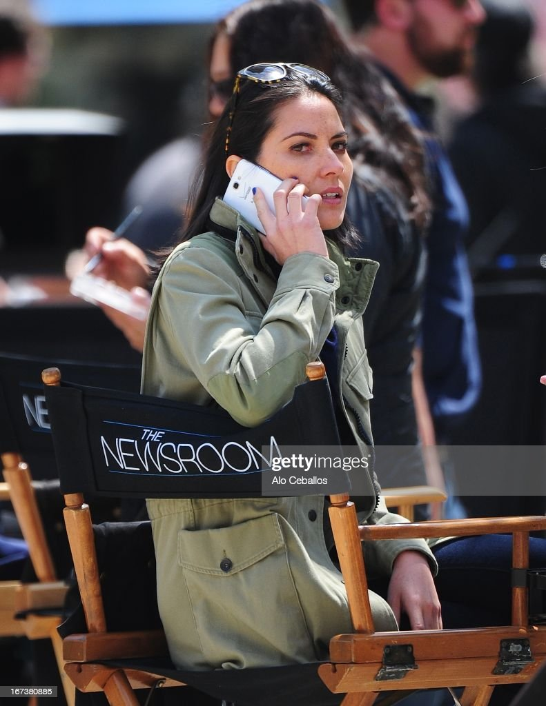 Olivia Munn is seen on the set of 'The Newsroom' on April 24, 2013 in New York City.