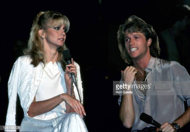 Olivia Newton John and Andy Gibb during Taping of 'Hollywood Nights' with Olivia NewtonJohn and Andy Gibb at ABC Entertainment Center in Los Angeles...