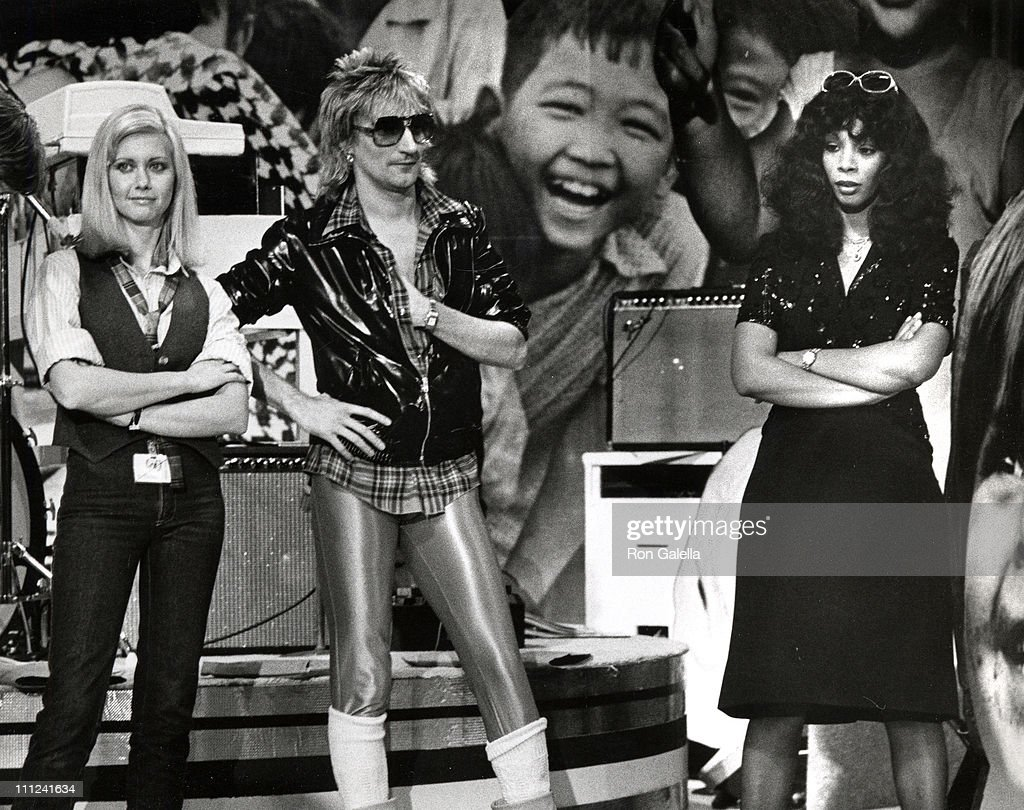 Olivia Newton John, Rod Stewart and Donna Summer during A Gift of Song UNICEF Concert rehersals - January 9, 1979 at UN in New York City, New York, United States.