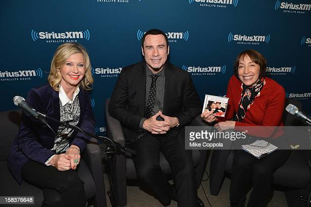 Olivia NewtonJohn and John Travolta answer questions at SiriusXM's Town Hall with John Travolta and Olivia NewtonJohn hosted by Didi Conn at the...