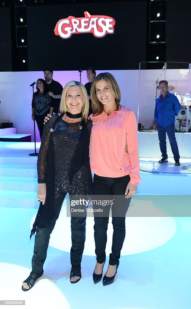 Olivia NewtonJohn and Natalie Morales during Olivia NewtonJohn's residency 'Summer Nights' at the Flamingo Las Vegas on August 21 2014 in Las Vegas...