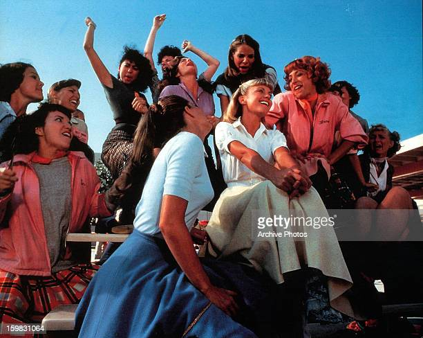 Olivia NewtonJohn Didi Conn and the rest of the girls sing in a scene from the film 'Grease' 1978