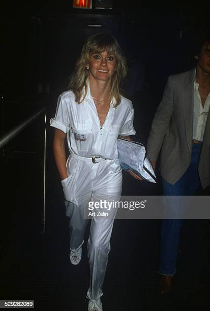 Olivia NewtonJohn in a white pants suit circa 1970 New York