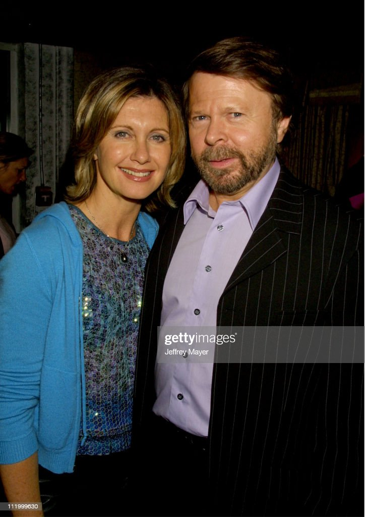 Olivia Newton-John with Bjorn Ulvaeus of ABBA during 'Mamma Mia!' Afterparty at Century Club in Los Angeles, California, United States.