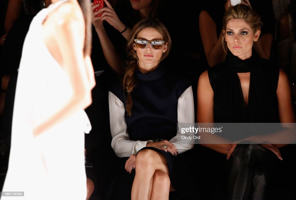 <a gi-track='captionPersonalityLinkClicked' href=/galleries/search?phrase=Olivia+Palermo&family=editorial&specificpeople=2639086 ng-click='$event.stopPropagation()'>Olivia Palermo</a> and actress <a gi-track='captionPersonalityLinkClicked' href=/galleries/search?phrase=Ashley+Greene&family=editorial&specificpeople=781552 ng-click='$event.stopPropagation()'>Ashley Greene</a> attend the Kaufmanfranco fashion show during Mercedes-Benz Fashion Week Spring 2014 at The Theatre at Lincoln Center on September 9, 2013 in New York City.