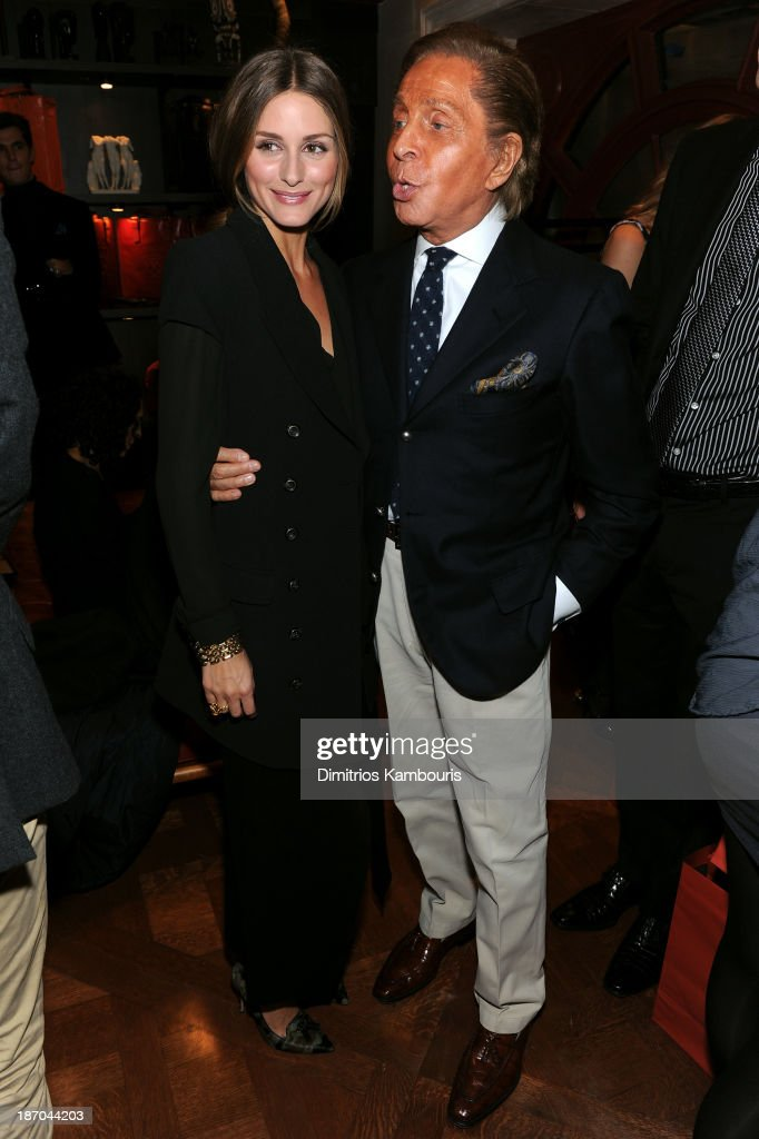 Olivia Palermo and designer Valentino Garavani attend a book signing for Giancarlo Giammetti's Autobiography 'Private Giancarlo Giammetti,' hosted by Martine and Prosper Assouline at Assouline Boutique at The Plaza Hotel on November 5, 2013 in New York City.