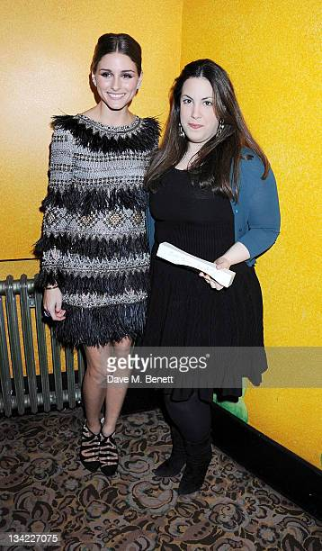 Olivia Palermo and Emerging Talent Ready To Wear Award winner Mary Katrantzou pose at the British Fashion Awards 2011 at The Savoy Hotel on November...
