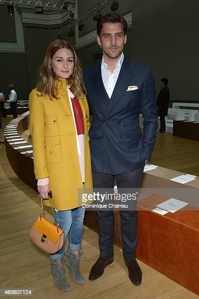 Olivia Palermo and husband Johannes Huebl attend attend the Chloe show as part of the Paris Fashion Week Womenswear Fall/Winter 2015/2016 on March 8...