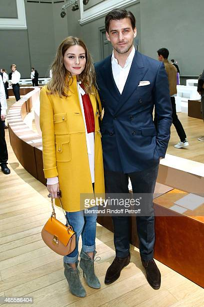 Olivia Palermo and husband Johannes Huebl attend the Chloe show as part of the Paris Fashion Week Womenswear Fall/Winter 2015/2016 on March 8 2015 in...