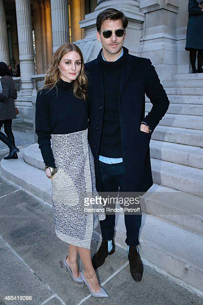 Olivia Palermo and husband Johannes Huebl attend the Jeanne Lanvin Retrospective Opening Ceremony at Palais Galliera on March 6 2015 in Paris France