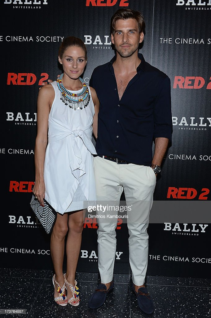Olivia Palermo and Johannes Hueb attend The Cinema Society & Bally screening of Summit Entertainment's 'Red 2' at the Museum of Modern Art on July 16, 2013 in New York City.