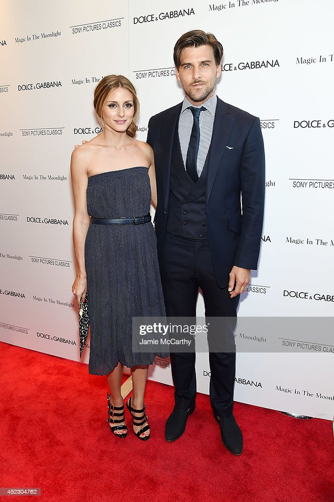 Olivia Palermo and Johannes Hueb attend the 'Magic In The Moonlight' premiere at the Paris Theater on July 17, 2014 in New York City.