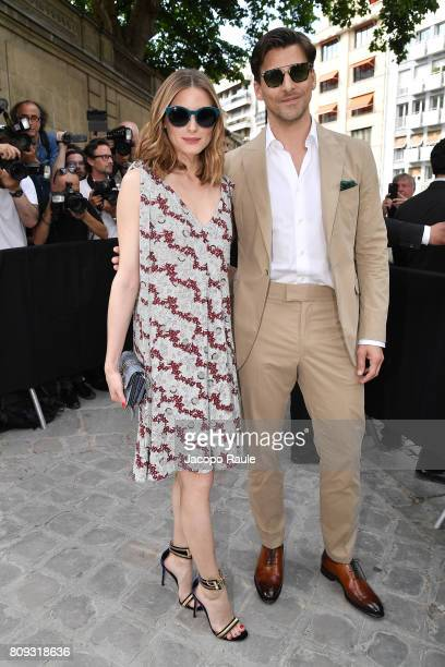 Olivia Palermo and Johannes Huebl are seen arriving at Valentino fashion show during the Paris Fashion Week Haute Couture Fall/Winter 20172018 on...
