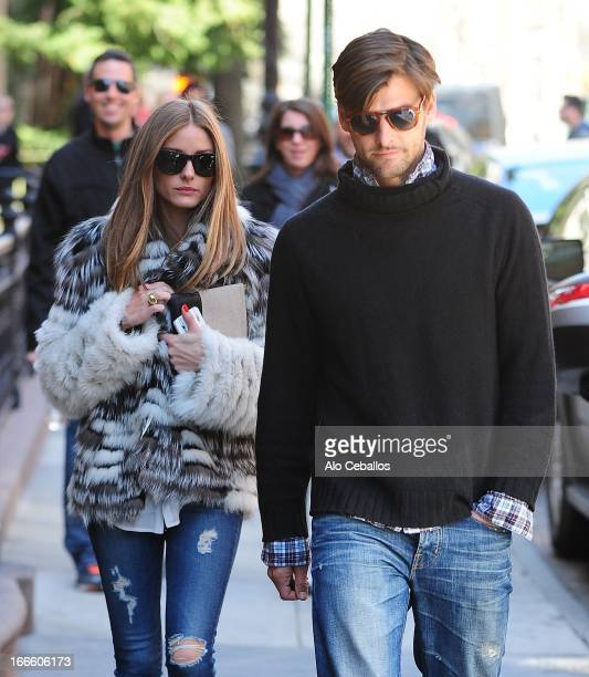 Olivia Palermo and Johannes Huebl are seen in the West Village on April 14 2013 in New York City