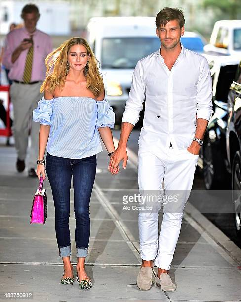 Olivia Palermo and Johannes Huebl are seen on August 12 2015 in New York City