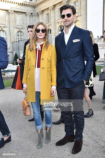 Olivia Palermo and Johannes Huebl arrive at Chloe Fashion Show during Paris Fashion Week Fall Winter 2015/2016 on March 8 2015 in Paris France