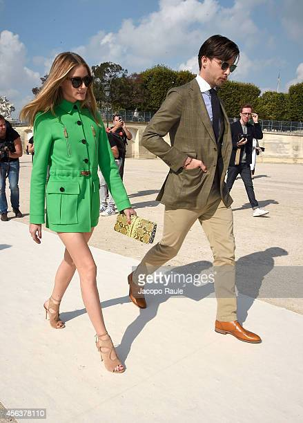 Olivia Palermo and Johannes Huebl arrive at the Valentino show during Paris Fashion Week Womenswear SS 2015 on September 30 2014 in Paris France