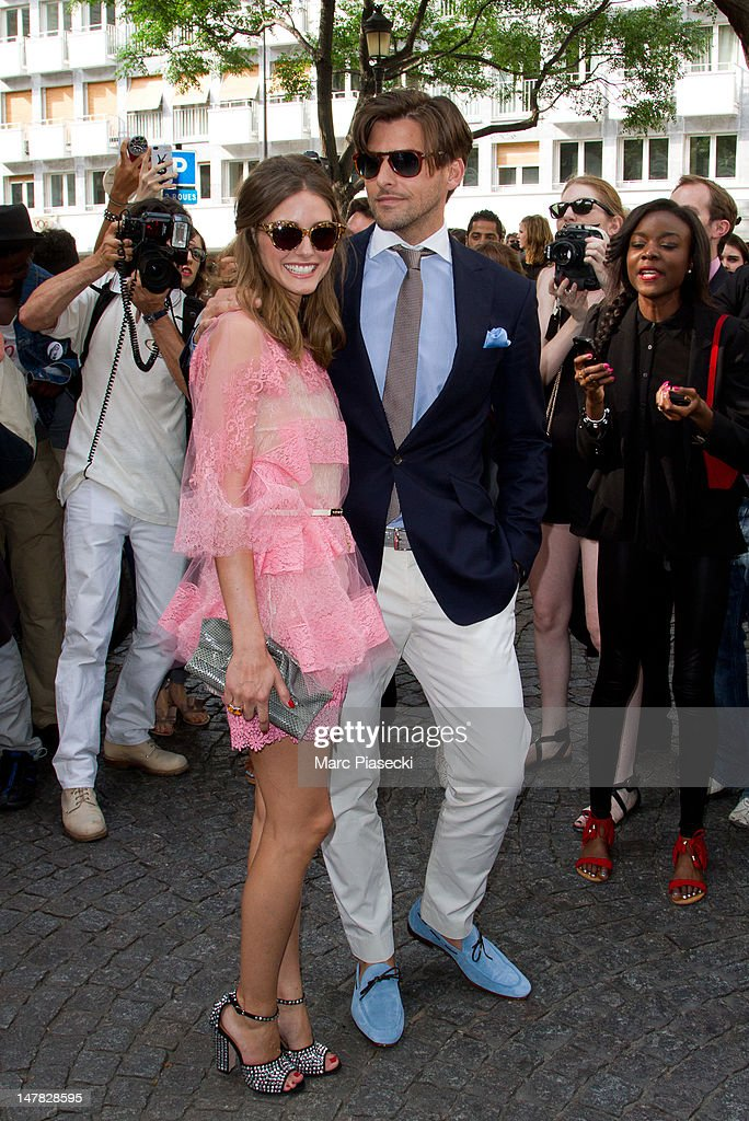 Olivia Palermo and Johannes Huebl arrive for the Valentino Haute-Couture Show as part of Paris Fashion Week Fall / Winter 2013 at Hotel Salomon de Rothschild on July 4, 2012 in Paris, France.