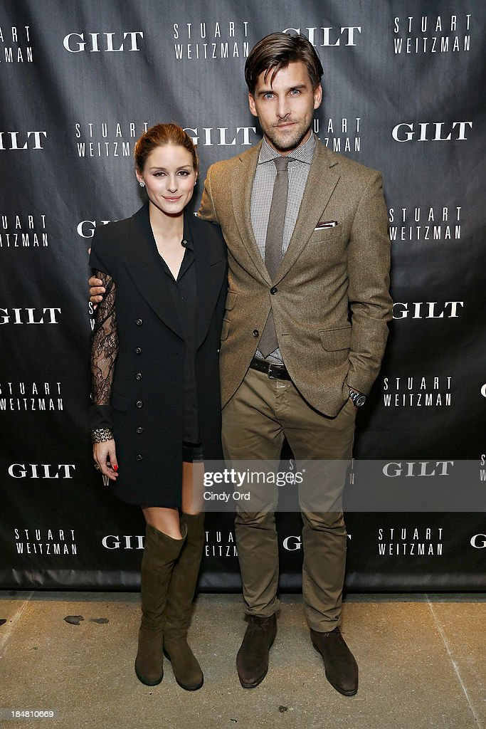 Olivia Palermo and Johannes Huebl attend as Gilt And Stuart Weitzman celebrate the 5050 Boot 20th anniversary on October 16, 2013 in New York City.