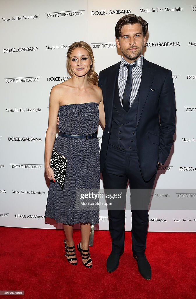 Olivia Palermo (L) and Johannes Huebl attend 'Magic In The Moonlight' premiere at Paris Theater on July 17, 2014 in New York City.