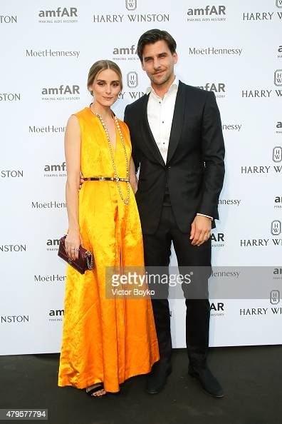 Olivia Palermo and Johannes Huebl attend the amfAR dinner at the Pavillon LeDoyen during the Paris Fashion Week Haute Couture on July 5 2015 in Paris...
