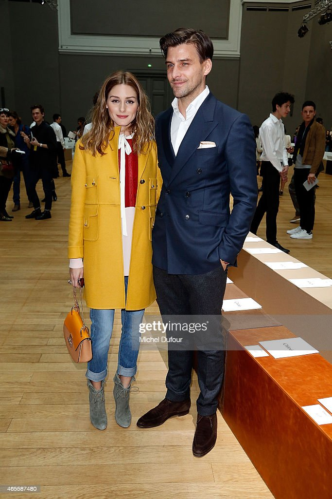Olivia Palermo and Johannes Huebl attend the Chloe show as part of the Paris Fashion Week Womenswear Fall/Winter 2015/2016 on March 8 2015 in Paris...