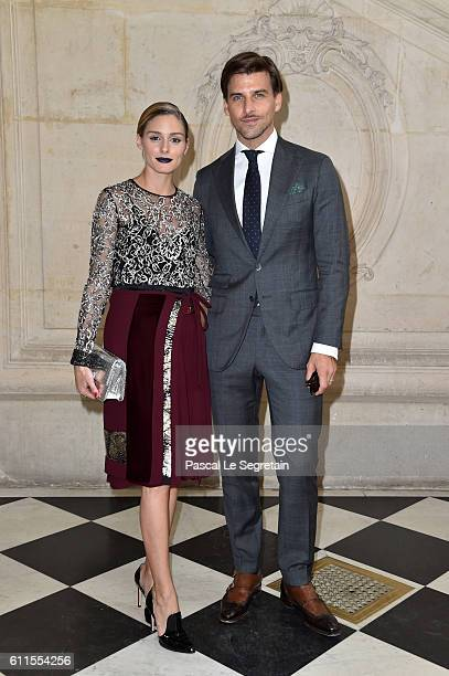 Olivia Palermo and Johannes Huebl attend the Christian Dior show of the Paris Fashion Week Womenswear Spring/Summer 2017 on September 30 2016 in...