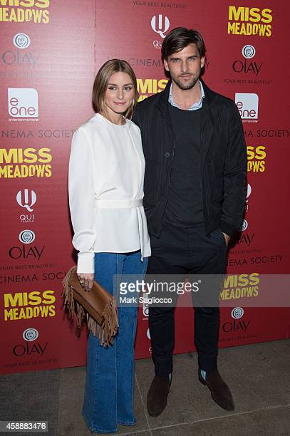 Olivia Palermo and Johannes Huebl attend The Cinema Society Olay's Screening Of Entertainment One's 'Miss Meadows' at Neuehouse on November 12 2014...
