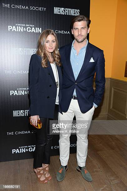 Olivia Palermo and Johannes Huebl attend the Cinema Society screening of 'Pain And Gain' at Crosby Street Hotel on April 15 2013 in New York City