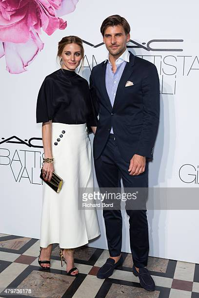 Olivia Palermo and Johannes Huebl attend the MAC Cosmetics Giambattista Valli Floral Obsession Ball at Opera Garnier on July 6 2015 in Paris France