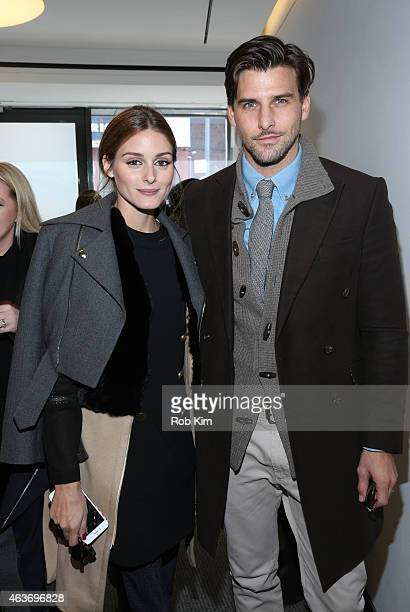 Olivia Palermo and Johannes Huebl attend the Rachel Zoe fashion presentation during MercedesBenz Fashion Week Fall 2015 at Affirmation Arts on...