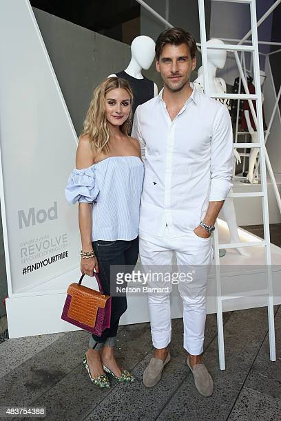 Olivia Palermo and Johannes Huebl attend the StyleWatch x Revolve Fall Fashion Party on the The High Line on August 12 2015 in New York City