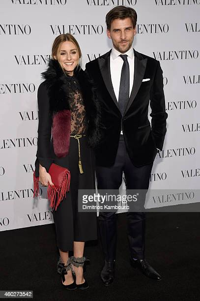 Olivia Palermo and Johannes Huebl attend the Valentino Sala Bianca 945 Event on December 10 2014 in New York City