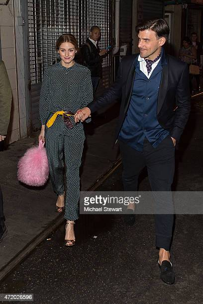 Olivia Palermo and Johannes Huebl attend the Voguecom Dim Sum Pajama Party at Nom Wah Tea Parlor on May 2 2015 in New York City