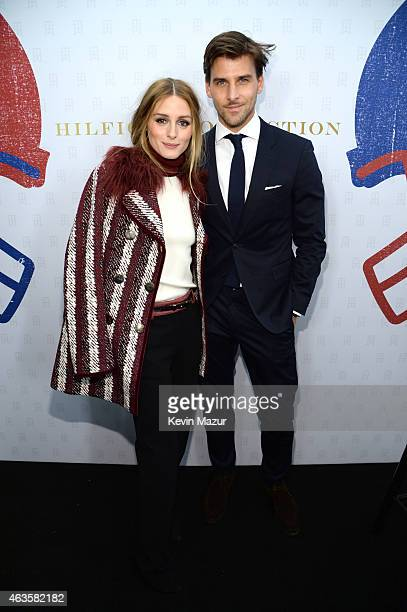 Olivia Palermo and Johannes Huebl backstage at Tommy Hilfiger Women's Collection during MercedesBenz Fashion Week Fall 2015 at Park Avenue Armory on...