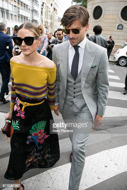 Olivia Palermo and Johannes Huebl leave the 'Valentino' fashion show on October 2 2016 in Paris France