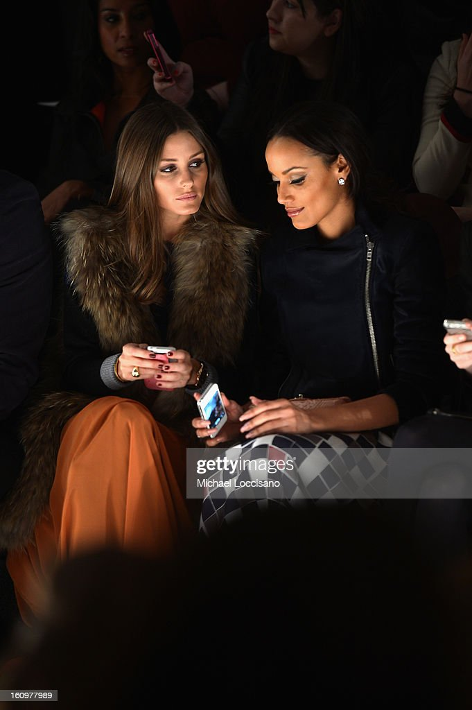 <a gi-track='captionPersonalityLinkClicked' href=/galleries/search?phrase=Olivia+Palermo&family=editorial&specificpeople=2639086 ng-click='$event.stopPropagation()'>Olivia Palermo</a> and Model <a gi-track='captionPersonalityLinkClicked' href=/galleries/search?phrase=Selita+Ebanks&family=editorial&specificpeople=619483 ng-click='$event.stopPropagation()'>Selita Ebanks</a> attend the Noon By Noor Fall 2013 fashion show during Mercedes-Benz Fashion at The Studio at Lincoln Center on February 8, 2013 in New York City.