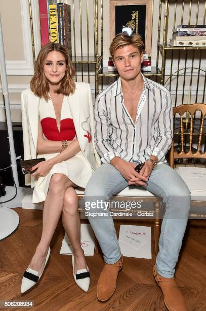 Olivia Palermo and Olivier Cheshire attend the Schiaparelli Haute Couture Fall/Winter 20172018 show as part of Haute Couture Paris Fashion Week on...