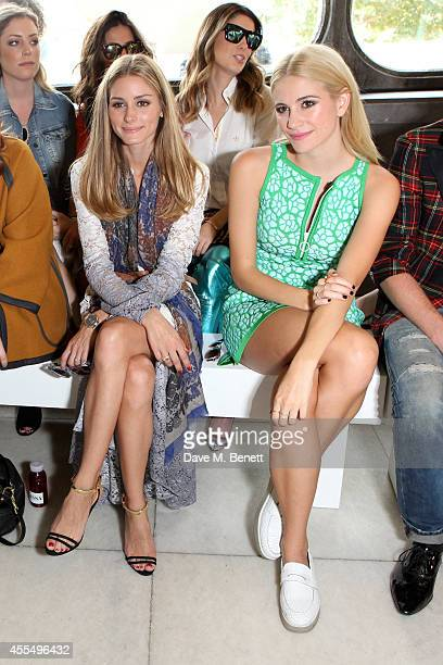 Olivia Palermo and Pixie Lott attend the ISSA Spring/Summer 2015 Show during London Fashion Week at the Queen Elizabeth Hall on September 15 2014 in...
