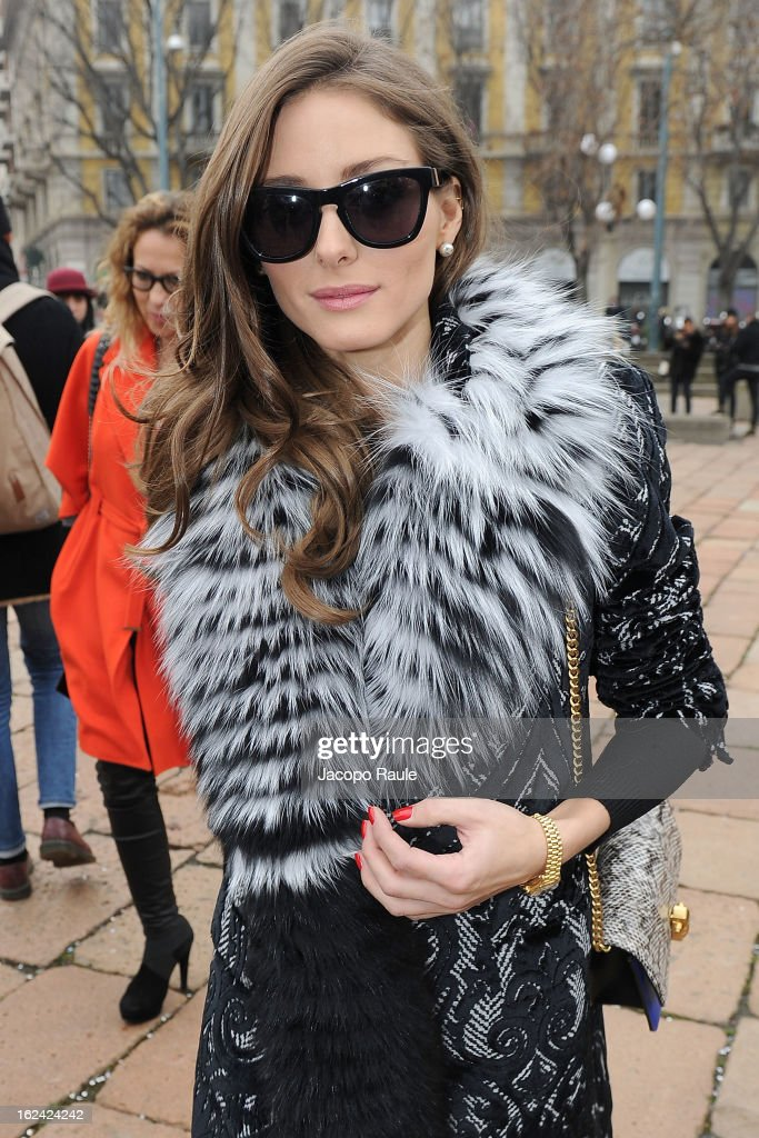 Olivia Palermo arrives at the Roberto Cavalli fashion show as part of Milan Fashion Week Womenswear Fall/Winter 2013/14 on February 23, 2013 in Milan, Italy.