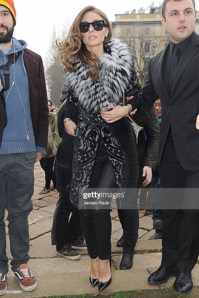 <a gi-track='captionPersonalityLinkClicked' href=/galleries/search?phrase=Olivia+Palermo&family=editorial&specificpeople=2639086 ng-click='$event.stopPropagation()'>Olivia Palermo</a> arrives at the Roberto Cavalli fashion show as part of Milan Fashion Week Womenswear Fall/Winter 2013/14 on February 23, 2013 in Milan, Italy.